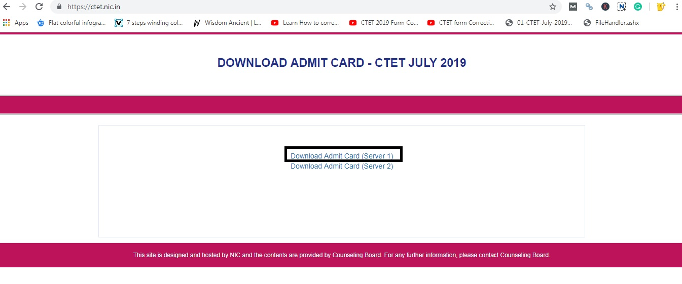 Click on Download Admit Card link