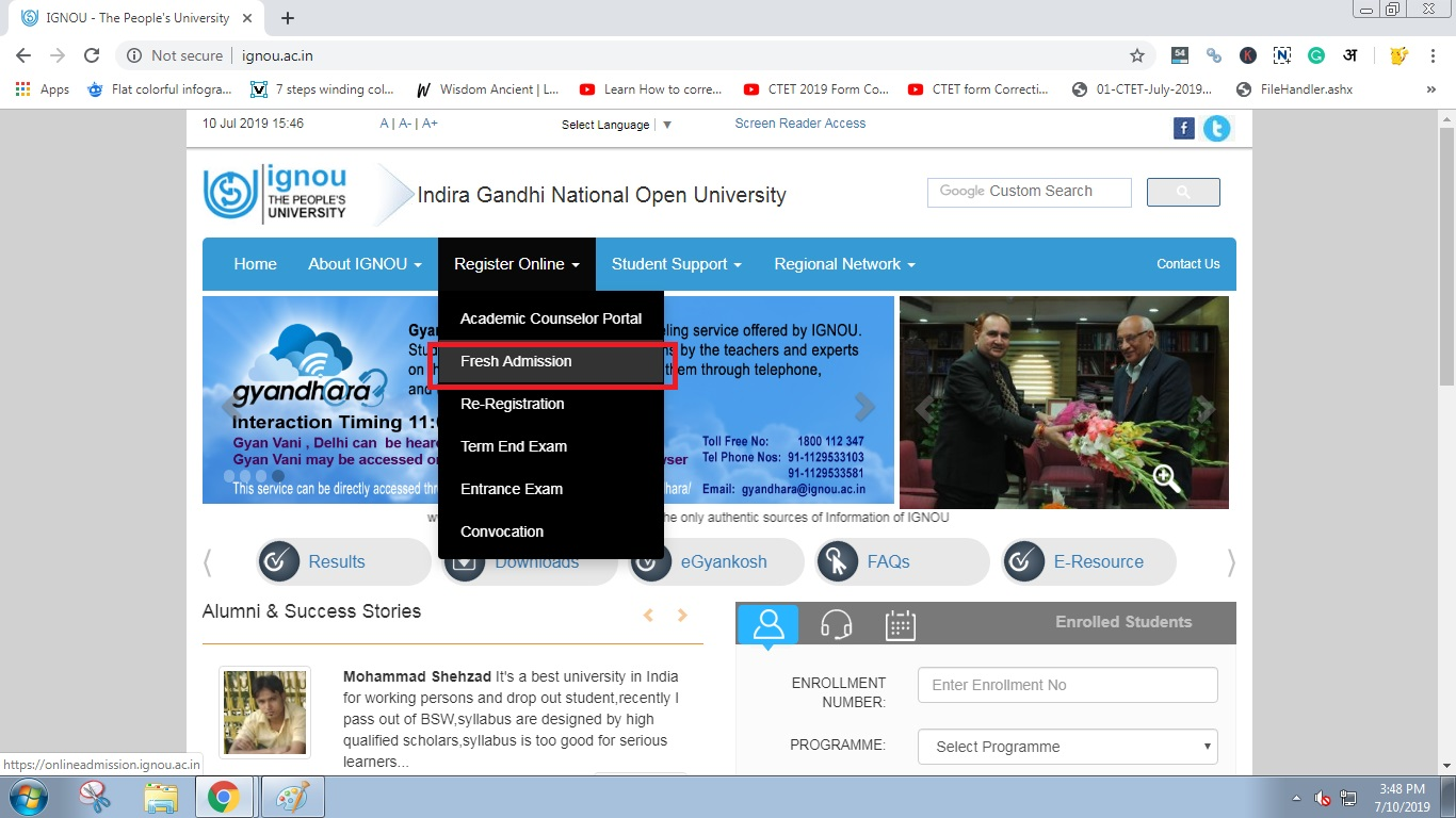 Click on Fresh Admission : IGNOU Identity Card