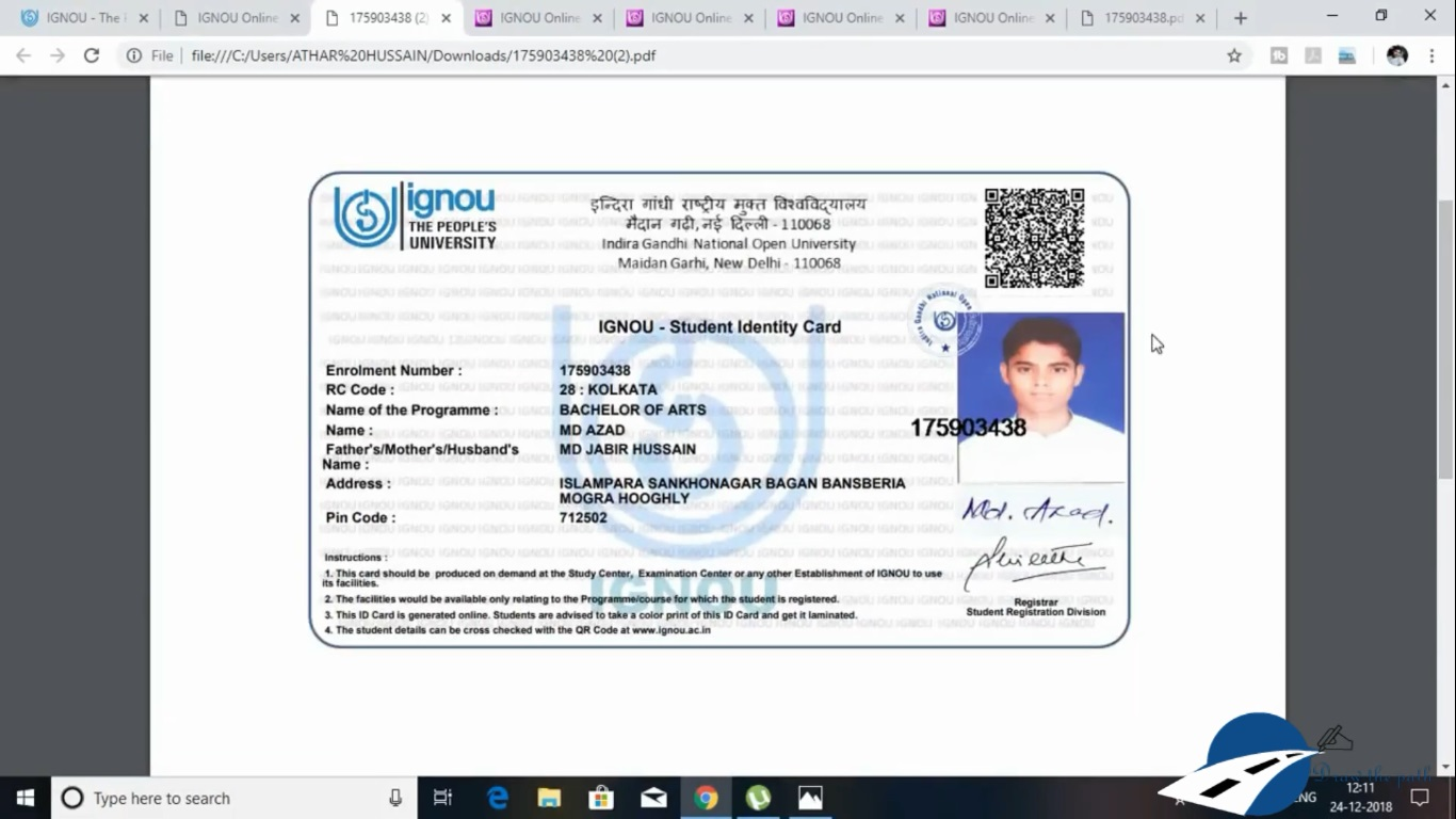 IGNOU New Identity card will be displayed on your screen : IGNOU Identity Card